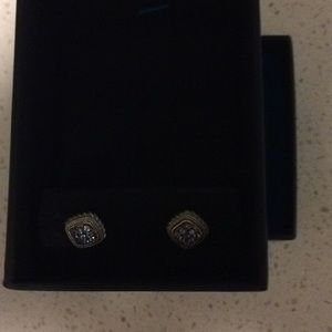 Silver and blue topaz square post earrings